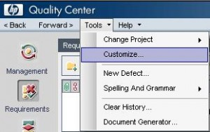 Select from Quality Center Menu Tools>Customize